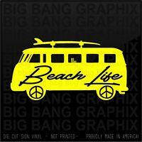 Beach Life Surfboard vinyl sticker decal Funny Joke Die Cut Window Bum Bus Peace