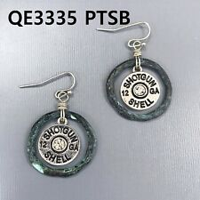 Silver Patina Finish Shotgun 12 GA Bullet Shell Shape Drop Dangle Hook Earring