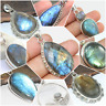 925 SOLID STERLING SILVER HANDMADE LABRADORITE PENDANTS IN ALL STONE SHAPE