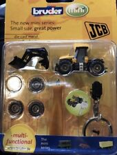 Bruder Mini JCB Die Cast Metal Tractor Keychain #00421 Scale 1:128 NEW IN BOX