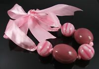 LOVELY CHUNKY PINK MILLEFIORI & MARBLEISED BEAD RIBBON TIE THONG NECKLACE (25)