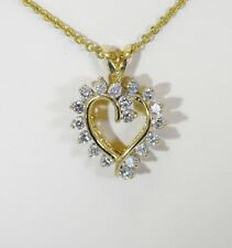 NATURAL GENUINE 1CTW DIAMOND 14K TWO TONE GOLD  HEART PENDANT 19353-1