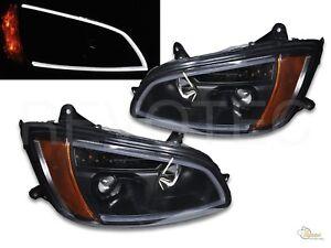 Black LED Bar Projector Headlights w LED Signal For 08-17 Kenworth T660 RH + LH