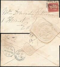 PENNY RED 1857 SCOTLAND LOCAL SINGLE BOXED CANCEL ARGYLE STREET...GLASGOW TREE