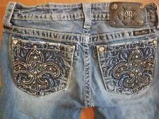 MISS ME Skinny Jeans JP5728S2 size 27 x 30 Stretch Embellished Fleur de lis
