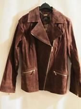 DENNIS BASSO~Washable Suede Leather Motorcycle (Moto) Jacket Coat~ Brown~S~NWT