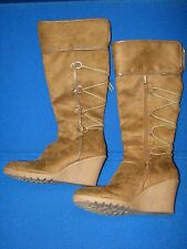 8 M IMPO Faux Leather Brown Ladies Womens Wedge High Heel Boots Tall Knee Wind