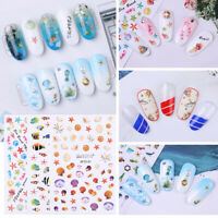 Ocean Summer Beach Nails 3D Nail Art Stickers Transfer Decals Nails Tips DIY