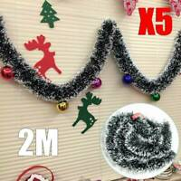 New 5Pcs Christmas Chunky Tinsel Tree Decoration X'mas Garland 2M (6.5Ft) Green