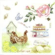 4x Carta Tovaglioli per Decoupage Decopatch Artigianali Fattoria degli animali alimentare
