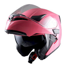 1Storm Motorcycle Modular Flip up Full Face Helmet Dual Visor Glossy Pink