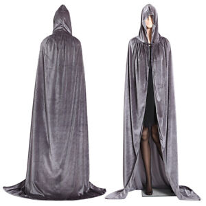 Adult Halloween Velvet Hooded Cape Cloak Costume Witch Party Cosplay Fancy Dress