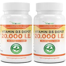 2x Vitamin D3 20.000 I.E. = 200 Tabletten - Hochdosiert mit 20000 IU IE Vit4ever