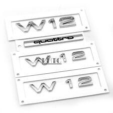 4Pcs W12 Quattro Body Side & Rear Badge Emblem OEM For AUDI A8 Quattro 6.0 6.3