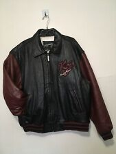 KARL KANI VTG Japanese Patched Embroidered Spell Out Leather Jacket Men XL FLAWS
