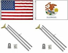 3x5 Usa American & State of Illinois Flag & 2 Aluminum Pole Kit Sets 3'x5'