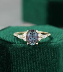 14K Yellow Gold Over 1.22ct Oval cut Alexandrite Engagement Wedding Ring