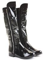 Womens High  Winter Biker Style Low Flat Heel Knee Boots Size