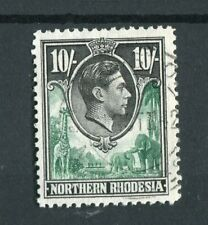 Northern Rhodesia KGVI 1938-52 10s green & black SG44 used