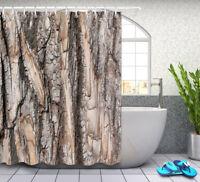 180CM Tree Bark Shower Curtain Set Sheer Waterproof Fabric Curtains Polyester