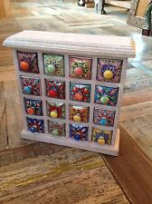 FAIR TRADE HAND CRAFTED LIMED MANGO WOOD 16 DRAWER CERAMIC SPICE STORAGE CHEST