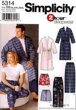 Simplicity Pattern 5314 Women Men PJ Robe Pants XL-XXXL shorts pajamas sleepwear
