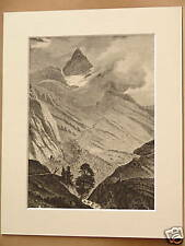 PIZ LANGUARD LIVIGNO ANTIQUE MOUNTED ENGRAVING c1890