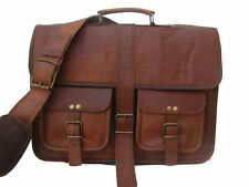 Men's Genuine Vintage Brown Leather Messenger Bag Shoulder Laptop Bag Briefcase