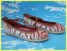 NWOB SERGIO ROSSI RED PINK TAN TIGER CANVAS LACE UP ESPADRILLE BALLET FLATS 35 5