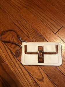 Coach White Leather, Brown Trim, Buckle Wristlet