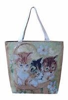 Shopper Handtasche Schulter Tasche 3 Katzen Babys  Kätzchen Nostalgie Gobelin