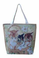 Sac à main shopping sac à bandoulière 3 chats bébé chaton nostalgie neuf 11182