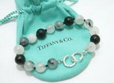 Tiffany & Co. Silver Paloma Picasso Black Quartz Moonstone Onyx Bead Bracelet