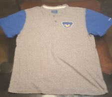 Reebok Chicago Cubs Baseball Cooperstown Collection Shirt Gray and Blue Size L
