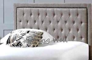Beautiful Crushed Velvet Linen Fabrics Alton Studded Bumper Headboard 26'' High