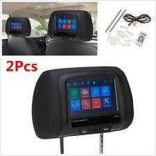 "2Pcs 7"" LCD Car Audio Video Back Seat Headrest USB SD IR FM BT MP5 Monitor 12V"