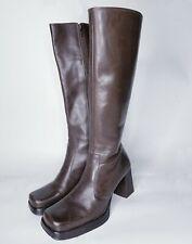 """Vtg Nine West 14"""" Calf Brown Leather Boot 7.5 7 Knee Hi Platform Flare Heel 70s"""