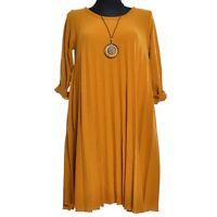 Falten Winter Kleid Tunika Pullover Gelb Mango Senf Winterkleid 40 42 44  M L