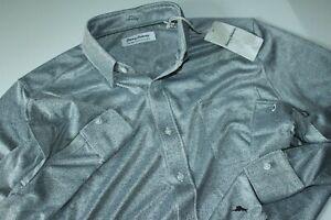 Tommy Bahama Shirt San Lucio Stretch Fog Grey ST225555 LS New Medium M