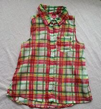 girl 4-5 years summer top shirt terranova red green with buttons checked