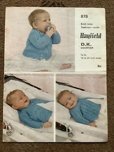 Vintage Knitting Pattern Hayfield Double Knitting 3 Baby Jackets