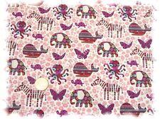 Fauna Fantasia Baumwolle Popeline weiß rosa 50 cm Hilco nähen Stoff Kleiderstoff