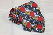 BALLY Multi Colored Check Farm House Scenery Classic Woven 100% Silk Tie