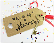 Girlfriend Boyfriend Valentines Day Vintage Bronze The Key To My Heart Gift Tag