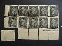 CANADA Sc 34 QV 1/2c MNH imprint block of 10 selvedge separated, still nice!