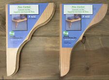 """2 Pine Corbel Shelf Brackets  11""""H x 7""""L x 1 1/8"""" W New In Wrap Maine USA"""