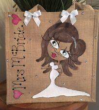 Personalised Wedding Bride Hen Night Jute Bag 32cm x 32cm Bride To Be