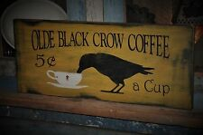 Large Primitive Mustard Olde Black Crow Coffee Wood Sign Folk Art Country Decor