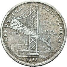 LANZ PORTUGAL  20 ESCUDOS 1966 Brückenschlag über den Tejo Wappen Silber €TEZ469
