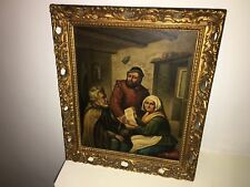 Antique oil painting of a 17th century tavern scene signed A Ostade